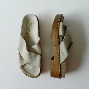 Free People Brickell Wooden Flat Slide Sandals